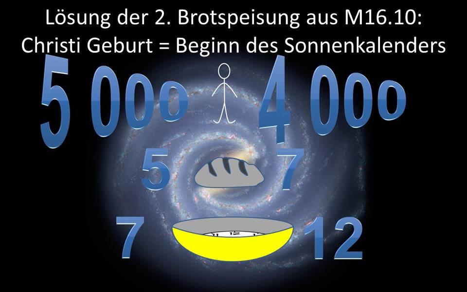 2. Brotspeisung - Christi Geburt identisch mit Beginn der solaren Zeitrechnung